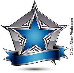 藍色, 灰色,  outline, 圖表, 星, 豪華, 清楚,  EPS, 符號, 裝飾, 矢量, 設計, 有光澤, 概念性,  8,  3D, 元素, 銀, 光榮, 樣板