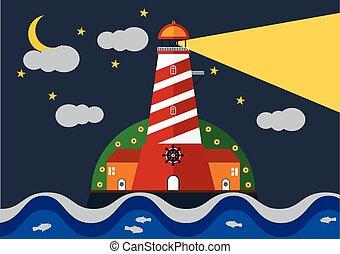 藍色, 燈塔, 海