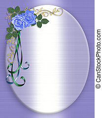 藍色, 玫瑰, 婚禮邀請