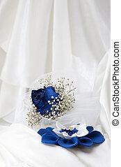 藍色, 玫瑰, 戒指, 婚禮