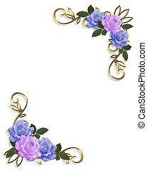 藍色, 玫瑰, 設計, 淡紫色, 角落