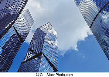 藍色, 現代, 天空, scyscrapers, 背景