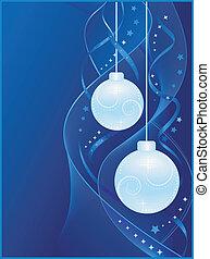 藍色, 球, 聖誕節, 背景