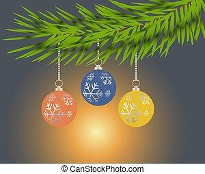 藍色, 球, 鮮艷, 樹, 背景。, 聖誕節