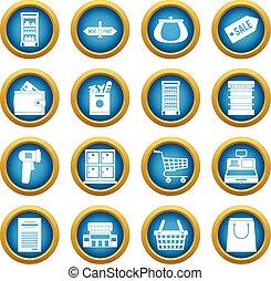 藍色, 環繞, 集合, 超級市場, 圖象