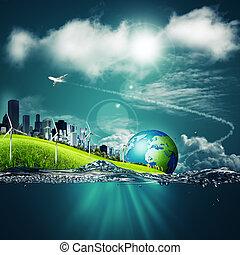 藍色, 生態系, 摘要, 背景, 設計, 在下面, 你, 天空