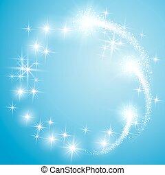 藍色, 發光, 背景, 星