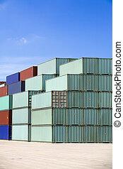 藍色, 發貨, 天空, 容器, 針對