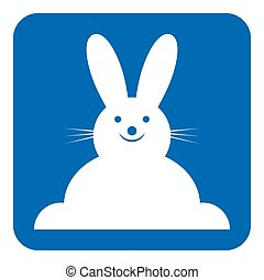 藍色, 白色, 簽署, -, 微笑, 兔子, 正面圖, 圖象