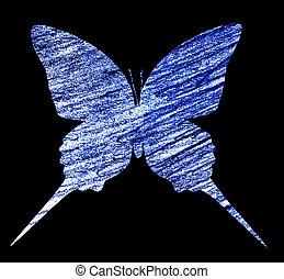 藍色, 白色, 蝴蝶, 被隔离