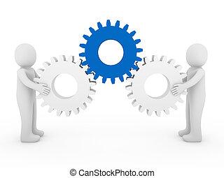 藍色, 白色, 齒輪, 人類, 3d