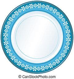 藍色, 盤子, 白色
