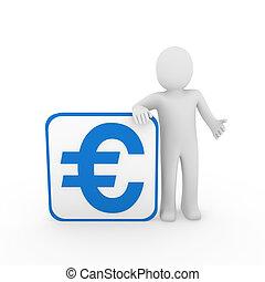 藍色, 立方, 3d, 歐元, 人