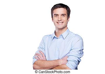 藍色, 站立, 保持, 襯衫, businessman., 年輕, 被隔离, 看, 充滿信心, 當時, 照像機, 橫渡的 胳膊, 肖像, 白色, 人, 漂亮