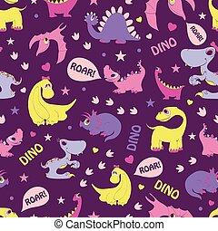 藍色, 粉紅色, 捲動, girly, pattern., seamless, 黃色, 恐龍, diplodocus,...
