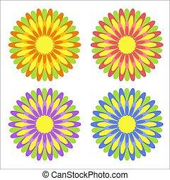 藍色, 紫色, 集合, 上色, 套間, 簡單, 摘要, 被隔离, 裝飾, 背景。, 黃色, 設計, 綠色白色, 花, 離開, 紅色