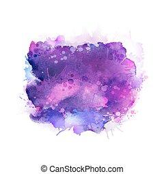 藍色, 紫色, stains., 紫丁香, 顏色, 摘要, 元素, 水彩, 背景。, 明亮, 藝術, 紫色