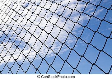 藍色, 网, 天空, 背景, 金屬