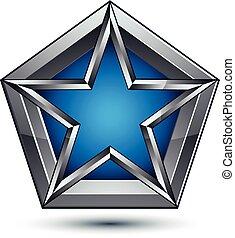 藍色, 网, 清楚, 使用,  blazon, 是, 星,  heraldic,  EPS, 銀色, 武器,  pentagonal, 圖表, 罐頭, 矢量, 外套,  8, 符號, 設計, 銀,  3D