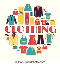 藍色, 网, 產品, 時裝, 背景, 圖象, 流動, concept., 或者, 長, 你, 矢量, 設計, 插圖, 樣板, infographics, applications., 陰影, 套間, 衣服, 設計