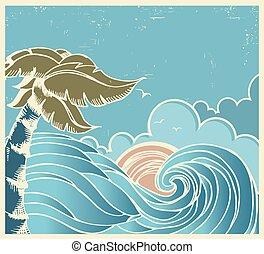 藍色, 老, 海景, 海報, 波浪, 大的曬太陽