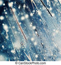 藍色, 聖誕節, 木制, 背景, 由于, 落下, 雪, 以及, 模仿空間
