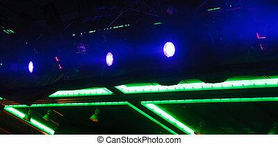 藍色, 聚光燈, 以及, 綠色, 氖