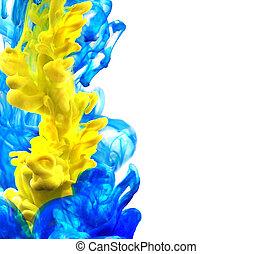 藍色, 背景。, 摘要, vector., 黃色