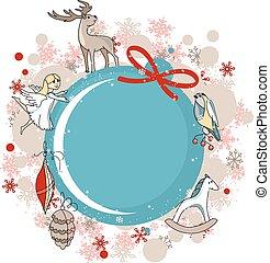 藍色, 舞台裝飾, 框架, 輪, 聖誕節