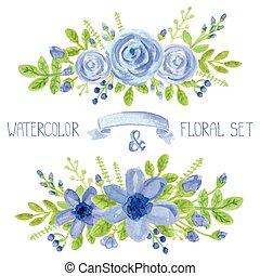 藍色, 舞台裝飾, 集合, 水彩, 花束, 花