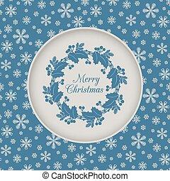 藍色, 花冠, seamless, holly, 圣誕節卡片