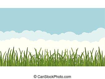 藍色, 草坪, dreen, 云霧, 離開, 天空, 針對, 背景。, 矢量, illustartion, 前景。, 草, 風景