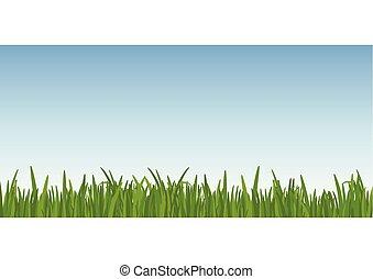 藍色, 草坪, dreen, 前景。, 離開, 天空, 針對, 背景。, 矢量, illustartion, 草, 風景