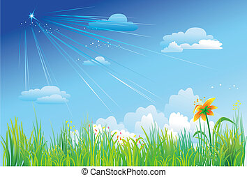 藍色, 草, 天空, 背景