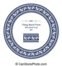 藍色, 葉子, 葡萄酒, 框架, 螺旋, 輪