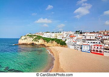 藍色, 葡萄牙語, 別墅, 夏天, 清楚, carvoeiro, sea., 觀點。, 海灘, 頂部
