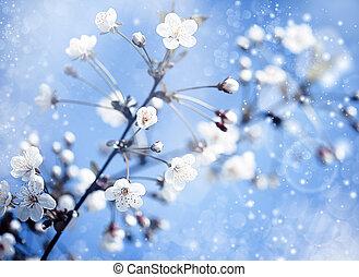 藍色, 蘋果, 背景, 摘要, 樹, 樂觀, 在下面, skies., 花