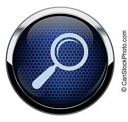 藍色, 蜂窩, 放大鏡, ico