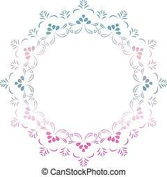藍色, 裝飾, 風格, 矢量, 框架, 邀請, 問候, 植物, 顏色, 粉紅色, 設計, 卡片, 壇場, 輪