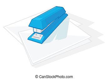 藍色, 訂書機, paper., 插圖, 費用, 黑暗, 矢量, 單子