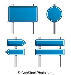 藍色, 路標, 集合, 在懷特上, 背景。, 矢量