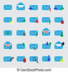 藍色, 郵件, 電腦, 屠夫, eps10
