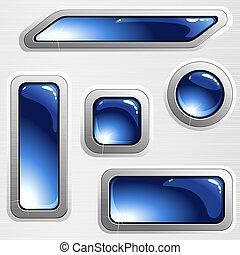 藍色, 鋼, 旗幟, 拉過絨, 按鈕