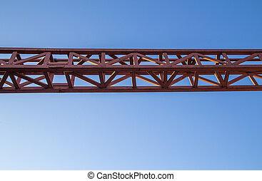 藍色, 鋼, 紅色, 直接, 銲接, 天空, 背景, 构架