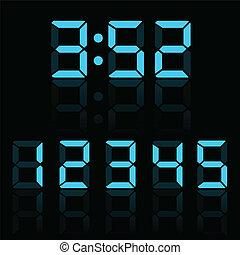 藍色, 鐘, 數字, 矢量, 插圖