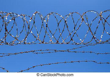 藍色, 鐵絲網, 天空, 背景
