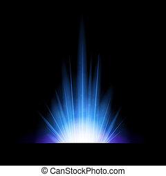 藍色, 閃光, 摘要, 點燃, 背景
