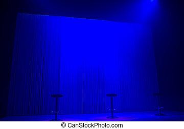 藍色, 階段, 聚光燈, 由于, 三, 凳子