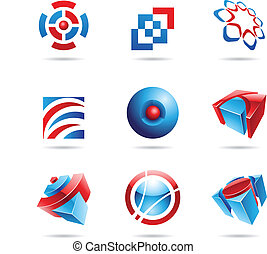 藍色, 集合, 14, 摘要, 紅色, 圖象
