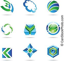 藍色, 集合, 20, 摘要, 綠色, 圖象